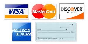 Logos for Visa, Master Card, Discover Card, American Express